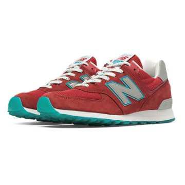 New Balance 574 Connoisseur East Coast Summer, Red with Silver & Blue Ashes