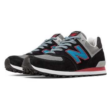 New Balance 574 Connoisseur Retro Ski, Black with Blue & Grey