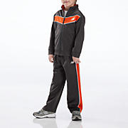 Youth Tricot Pant Set, Orange with Charcoal