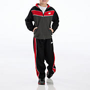 Youth Tricot Pant Set, Black with Red