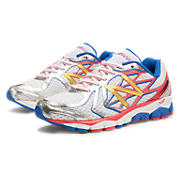 New Balance 1080v4, White with Pink & Blue