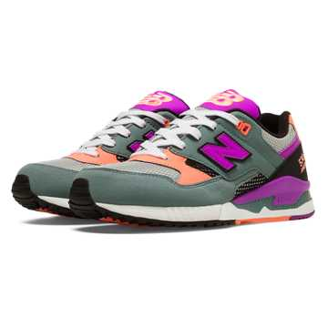 New Balance 530 90s Running, Grey with Voltage Violet & Peach
