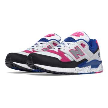 New Balance 530 90s Running Leather, White with Black & Carnival Pink