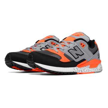 New Balance 530 90s Running Leather, Black with Lead & Lava