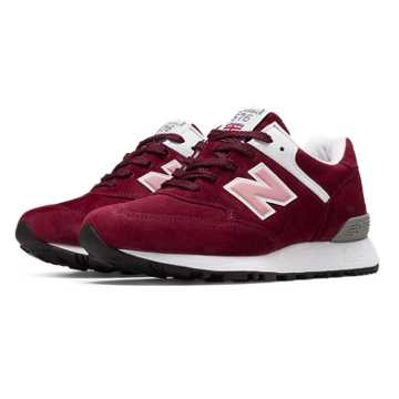 New Balance 576 Made in UK, Burgundy with White & Pink