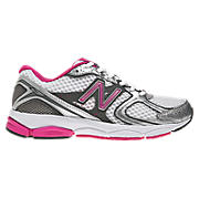 New Balance 580v2, White with Silver & Pink