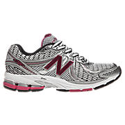 New Balance 860v2, White with Silver & Pink