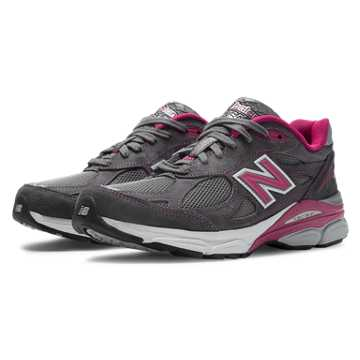 New Balance Pink Ribbon 990v3, Grey with Exuberant Pink & White
