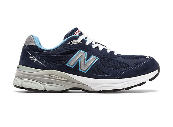 New Balance 990v3, Navy with White & Light Blue