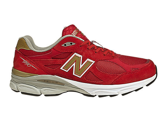 Womens Limited Edition NYC 990, Red with Gold