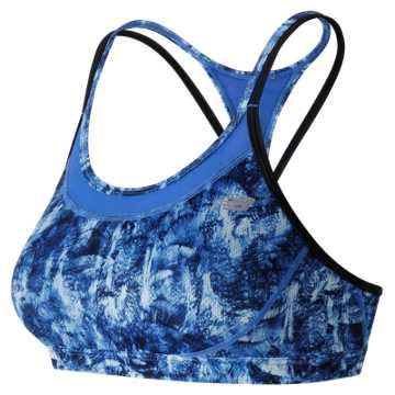New Balance The Print Tonic Crop Bra, Droplet with Bluefin & Black