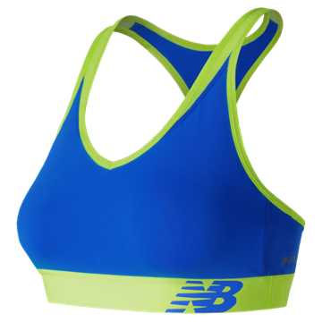 New Balance NB Pace Bra, Electric Blue with Lime Glo