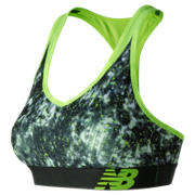 NB White Tie Dye NB Pace Bra, White with Black & Lime Glo