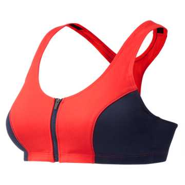 New Balance J.Crew Premium Performance Zip Front Bra, Fiery Sunset