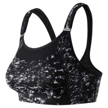 New Balance The Print Shockingly Unshocking Bra, Black with Grey