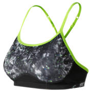 New Balance White Tie Dye Floral NB Hero Bra, White with Black & Lime Glo
