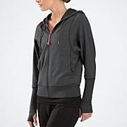 Fashion Full Zip Hoodie, Heather Charc with Pink Glo