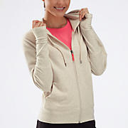 Fashion Full Zip Hoodie, Natural Heather with Fiery Coral