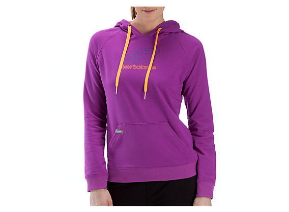Essentials French Terry Hoodie, Purple Cactus Flower with Orange Pop