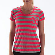 Striped Short Sleeve Tee, Diva Pink with Heather Grey