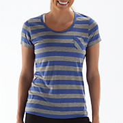 Striped Short Sleeve Tee, Dazzling Blue with Heather Grey