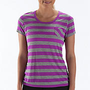 Striped Short Sleeve Tee, Purple Cactus Flower with Athletic Grey