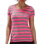 Striped Short Sleeve Tee, Neon Pink with Grey