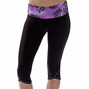 Ultimate Knee Capri, Black with Purple Cactus Flower