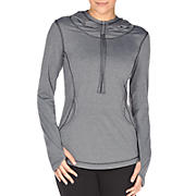 Long Sleeve Hooded Tee, Grey with Black