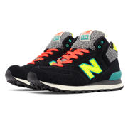 NB 574 Mid-Cut, Black with Teal & Yellow