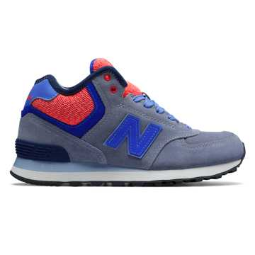 New Balance 574 Mid-Cut, Grey with Dark Cyan & Pink