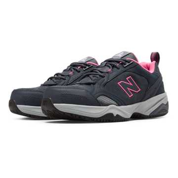 New Balance Steel Toe 627 Suede, Dark Grey with Pink