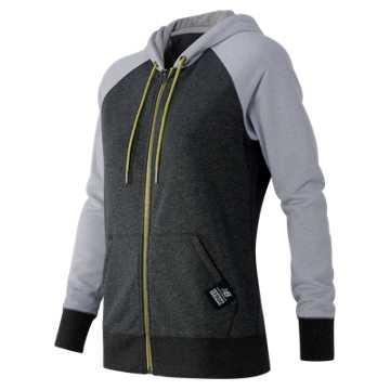 New Balance Essentials Plus Full Zip Fleece Hoodie, Heather Charcoal