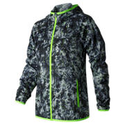 New Balance Windcheater Printed Jacket, White with Black & Lime Glo