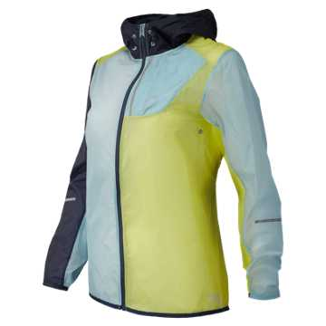 New Balance J.Crew Lite Packable Novelty Jacket, Navy with Frost Blue & Vivid Yellow