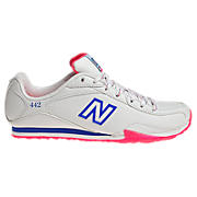 New Balance 442, White with Diva Pink & Blue