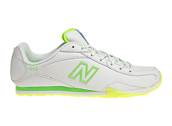 New Balance 442, White with Neon Green & Yellow