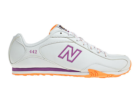 New Balance 442, White with Orange & Purple