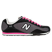 New Balance 442, Black with Pink Shock & White