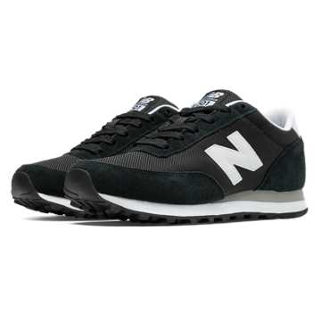 New Balance 501 New Balance, Black with White