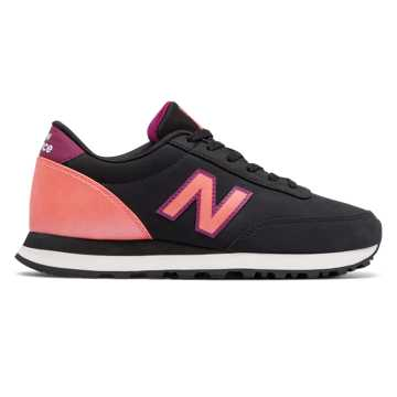 New Balance 501 New Balance, Black with Guava