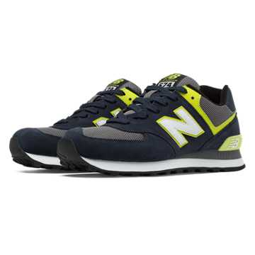 New Balance 574 New Balance, Navy with Yellow & Grey