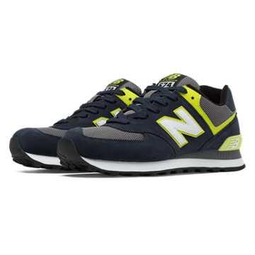 New Balance 574 New Balance, Navy with Yellow & Grey