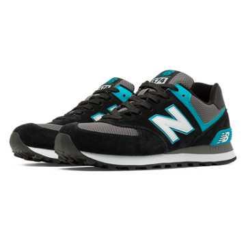 New Balance 574 New Balance, Black with Blue Atoll & Grey