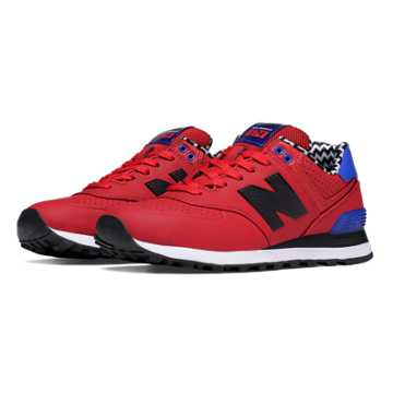 New Balance 574 Paint Chip, Red with Blue & Black