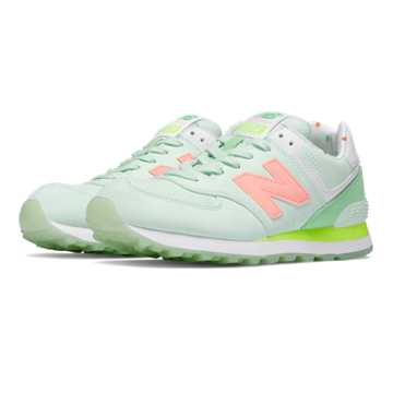 New Balance 574 State Fair, Seafoam with Summer Green & Cosmic Coral