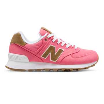 New Balance 574 15 Ounce Canvas, Solar Pink with Beeswax
