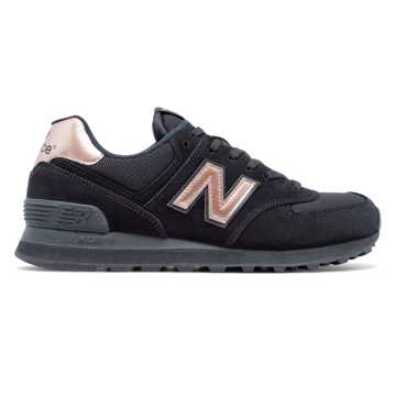 New Balance 574 Molten Metallic, Black with Rose Gold
