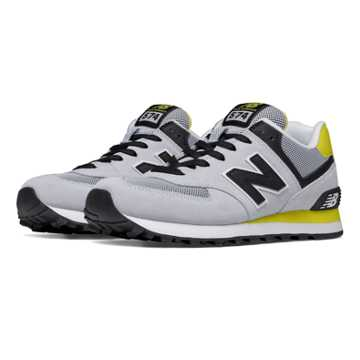 New Balance 574 New Balance, Light Grey with Limeade & Black