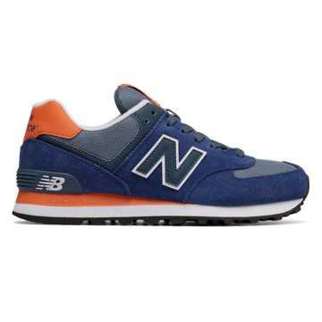 New Balance 574 Core Plus, Navy with Orange & Grey